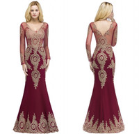 Wholesale pageant dress designers for sale - Group buy 2018 Designer Burgundy Mermaid Evening Dresses V Neck Sheer Long Sleeves Appliqued Lace Evening Gowns Formal Prom Pageant Dress CPS880
