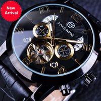 Wholesale Golden Fashion Watches For Men - Forsining Tourbillion Black Golden Wave Dial Fashion Casual Design Men Watch Top Brand Mechanical Automatic Wrist Watch For Men