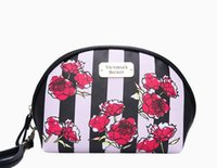 Wholesale luxury cosmetic bags wholesale - Dropshiping Pink Flower PU Makeup luxury Designer Handbags Cosmetic Hand Bags