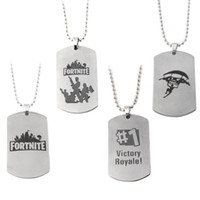 Wholesale 8mm cartoons - Stainless Steel Fortnite English Letter Necklace Brief Designer Popular Fun Keychain Battle Royale Unique Special Pendant 2 8mm ZZ