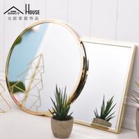 Wholesale Wall Make Up Mirror - ADOUS Nordic minimalist creative wall decoration, square round, golden mirror, bathroom mirror, make-up hanging mirror