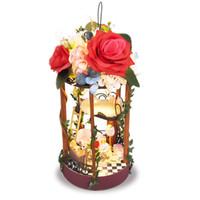 ingrosso luci da giardino in miniatura-Mini kit fai da te Dollhouse appeso cesto di fiori decorazione del giardino casa delle bambole in miniatura con luce bambini ragazze giocattoli amici regalo