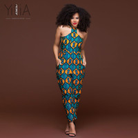 Wholesale Legging Jumpsuits - Yilia Womens Rompers Jumpsuit Summer 2018 Women African Print Clothing Sleeveless Halter Casual Sexy Fashion Party Wide Leg Pant
