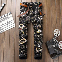 Wholesale Colored Drawing Jeans - Mens fashion 3D Digital graffiti print robin jeans Male colored drawing painted Nightclubs biker pants Strech long trousers fear of god