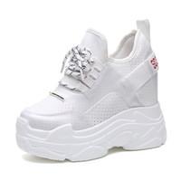 zapatillas de plataforma de verano al por mayor-2018 Summer Women Sneakers Mesh Casual Platform Trainers Zapatos blancos 12CM Heels Wedges Transpirable Mujer Altura creciente Zapatos