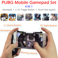 ingrosso iphone touch pad-PUBG Mobile Game Controller Gamepad + L1 R1 Trigger Punta il pulsante L1R1 Shooter + Touch Pad Joystick per iPhone Android Phone Gaming