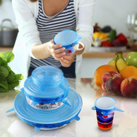 6PCS Set Universal Silicone Suction Lid-bowl Pan Cooking Pot Lid-silicon Stretch Lids Silicone Cover Pan Spill lid Stopper Cover c361