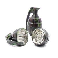 grinders venda por atacado-Moedor de fumaça de metal de camuflagem, moedor de 3 camadas, granada de liga de zinco, cortador de tabaco, conjunto de metal para fumar.