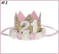 bir yıl boy toptan satış-Ücretsiz kargo 10 adet Bebek Kız Erkek Tek 1 2 3 4 5 6 7 8 9 Yaşında Doğum Günü Şapka Taç Bantlar Doğum Günü Partisi Dekorasyon Saç Dekoratif