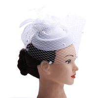 ingrosso fascinator-Fascinator with Feathers and Veiling ladies day Wedding Bridal Party Wedding Brides Accessori per capelli sposa copricapo S918