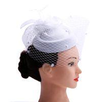 parti başörtüsü örtüsü toptan satış-Tüyler ve Veiling ile fascinator bayanlar günü Düğün Gelin Parti Düğün Gelinler Saç aksesuarları gelin headdress S918
