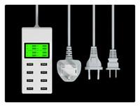 universal-ladegerät lcd großhandel-Hochgeschwindigkeits-LED 8-Port-Hauptwand-Ladegerät-Adapter mit LCD-Schirm-Anzeige Wechselstrom zur USB-Netzanschluss-Station für iphone x S8 S9