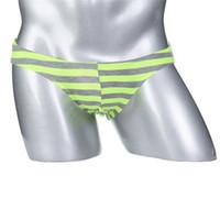 Wholesale underpants l size online - 5pcs Color Sexy Gay Men Stripe Cotton Underwear Shorts Men Low Waist Underpants Soft Brief Size S M L