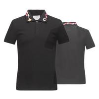 ingrosso maglietta di strada di qualità-Top quality Summer Cotton T-Shirts tee snake embroidery streets Lusso nero bianco 16522