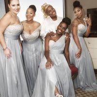 Wholesale plus size bridesmaid dresses for sale - Long Sleeves Off The Shoulder Bridesmaid Dresses One Shoulder Crystal Pleated Chiffon Split Floor Length Wedding Guest Dresses Plus Size Bri