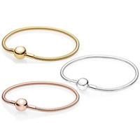 pulsera de encanto 17cm al por mayor-100% S925 pulsera de plata esterlina con LOGO 17cm-20cm cadenas de eslabones de serpiente para dijes Pandora encantos accesorios de la joyería de bricolaje