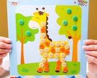 antigas, pintura, crianças venda por atacado-Diy botão pintura adesivos infantis pacote de materiais artesanais 3-6 anos de idade crianças botão criativo pintura colar de quebra-cabeça