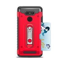 броня двухслойная обложка оптовых-Hybrid Armor Case Мягкая крышка Kickstand для TPU для LG G6 Q6 V30 Armor Слот для карт Dual Layer Shockproof Phone Shell
