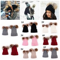 Wholesale newborn wool hat for sale - Group buy Knitting Warm Hat Winter Beanie Hat Mom And Baby Family Matching Outfits Newborn baby Double fur Ball pop Crochet HAT FFA996