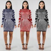 bling roupas de meninas venda por atacado-Bling bling Impresso Mulheres De Natal Vestido Ocasional Das Senhoras Saia da Queda Senhora Dresse Roupas Boate Moda Meninas Apertem Roupas CQ022