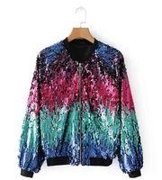 chaquetas de lentejuelas para mujer al por mayor-2018 Winter Sequin Jacket Womens Sparkly Bomber Jacket Three Quater Sleeve Zipper Glitter Streetwear Moda Chaquetas Escudo DW638