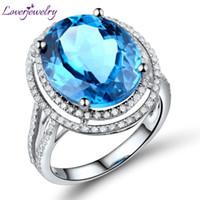 ingrosso diamante d'epoca ovale-Anelli di fidanzamento vintage 100% diamante naturale e topazio ovale in oro massiccio 14Kt (11x13mm) S923