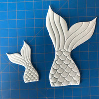 Wholesale Bake Mini Mold - 2pcs In One Set Plastic Biscuits Cutter Mold Mini Mermaid Tail Cake Mould Kitchen Baking Tools 3 5kl C R