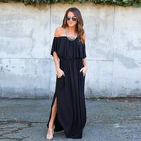 трикотажные изделия оптовых-Casual Summer Women Dresses Off The Shoulder Ruffle Solid Cotton Long Beach Boho Dresses Side Split Black Jersey Maxi
