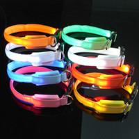 Wholesale mini dog collar resale online - XS cm width cm length mini Durable LED Plain Flashing Adjustable Safety Little Dog Cat Pet Puppy Collar Flash Collars