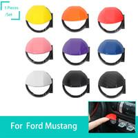 ford düğmesi kapağı toptan satış-Motor Çalıştırma Durdurma Ayarlamak Anahtarı Düğmesi Kapak Cap Ford Mustang Için Fit 2015-2017 Araba-Araba Styling kapakları