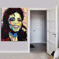 Wholesale Abstract Modern Figure Painting - Alec monopoly graffiti Art Michael Jackson,Portrait MODERN ABSTRACT LARGE ART OIL PAINTING WALL DECOR CANVAS FRAMED STRETCH FRAMED