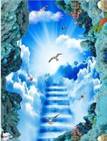 imagem dimensional venda por atacado-Escada nuvem sol pombo branco 3D tridimensional imagem 3º piso pvc papel de parede para casa de banho