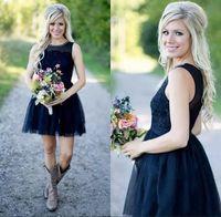темно-синее платье из тюля оптовых-Темно-синий короткие страна платья невесты Sheer иллюзия тюль обратно до колен пляж невесты платье горничной платье темно-синий