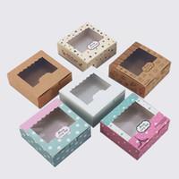 tamaños de caja de pastel de boda al por mayor-3 tamaños 20 unids caja de papel kraft para la caja de papel kraft macaron con papel de ventana galletas de regalo de la boda del embalaje de la ventana