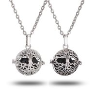 Wholesale Pendant Metal Pearl - 1Pc Aroma Antique Silver Pendant 16mm Lava Stone Diffuse Locket Necklace For Gift