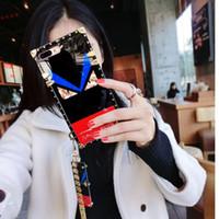 armbinde fall für iphone großhandel-Quadratische Beschichtung Silikon Devil Eyes Phone Case mit Anhänger Armband Seil Armband Rückseite für iPhone XS Max 6s 7 8 Plus