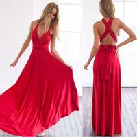 vestido femme rojo al por mayor-Vestido de fiesta atractivo mujeres Boho Maxi Club vestido rojo vendaje Vestidos damas de honor convertible Robe Femme vestidos largos