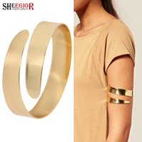 гладкий золотой браслет оптовых-SHEEGIOR Lovely Sexy Gold/Silver color Bangles Simple Smooth Open Big Cuff Bracelets for Women Men's Arm Bangle Fashion Jewelry