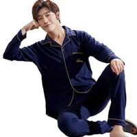 männer s pyjama-sets baumwolle groihandel-Herren Pyjamas Herbst Winter Langarm Homewear Baumwolle Cardigan Pyjamas Männer Lounge Pyjama Sets Größe L-XXXL Nachtwäsche Sets