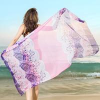 Wholesale sheer swimwear for women online - Sexy Beach Swimwear for Women Colorful Sheer Chiffon Cover up Wrap Beach Bikini Shawl Floral Scarf Silky Tulle Bohemian Dresses CM