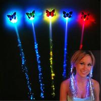 acessórios de iluminação venda por atacado-LED Flash Borboleta linha fina Colorido luz para cima Tranças Luminosas LEVOU Emissor de Luz De Fibra Óptica acessório Do Cabelo Masquerade Festival Adereços Presente