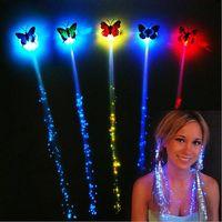 mariposas ópticas al por mayor-LED Flash Mariposa rayita Colorida luz trenzas Luminoso LED de fibra óptica de fibra de pelo accesorio Mascarada Festival accesorios de regalo