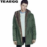 армия зеленые парки оптовых-TEAEGG высокое качество мужская зимняя длинная куртка Куртка капюшон толстые армии зеленый хлопок мужская зимнее пальто Chaqueta Invierno Hombre AL120
