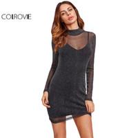 COLROVIE Glitter Mesh 2 In 1 Dress 2017 Black Overlay Women Sexy Party Club  Summer Dresses Fashion High Neck Bodycon Mini Dress Y1890810 10bd87041