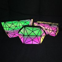 Wholesale pvc cosmetic bag small - Geometric Noctilucent Small Travel Cosmetic Bag Women Luminous Make Up Bag Toiletry Kit Travel Organizer Beauty Case 10pcs LJJO4533