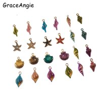 Wholesale jewelry accessories nautical - 40PCS Nautical Fashion Jewelry Mixed Sea Shells Shell charms Crafts For Earrings Necklace DIY Hair Accessories Keychain Funny