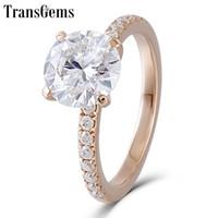 moissanite düğün yüzükleri kadınlar toptan satış-Transgems 14 K Gül Altın Moissanite Nişan Yüzüğü Merkezi 8mm F Renk Mozanit Pırlanta Yüzük Kadınlar için Düğün Takı