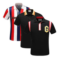 Wholesale mens stripped shirts - 18ss Italy designer polo shirt Luxury Brand t shirts mens Casual polos with embroidery Letter G Fashion strip Print Cotton polos