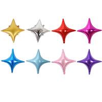 globos en forma de estrella al por mayor-24 Pulgadas Forma de Estrella de cuatro puntas Color Caramelo Papel de aluminio Globo Niños Juguete Cumpleaños Banquete de Boda Suministros Decorativos Fondo Decoración