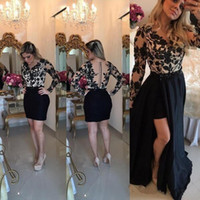 vestido curto indiano venda por atacado-Sexy Black Lace manga comprida vestido de baile 2018 Sheer botão de volta amovível saia removível indiano vestidos de noite Floral